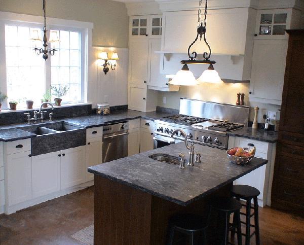 Kitchen White Cabinets Black Counter Top Modern