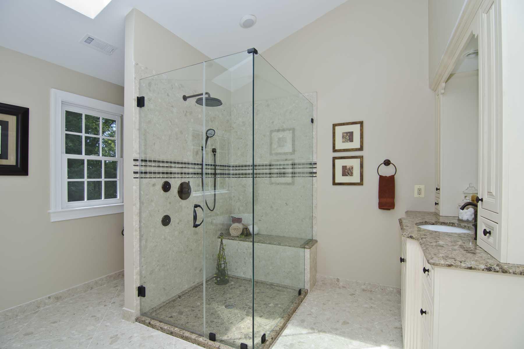 Verona Showers marble walls and custom-made MarbaFloor