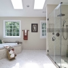 Verona Showers Master Bath in Perlato Royal and Napoleon Brown