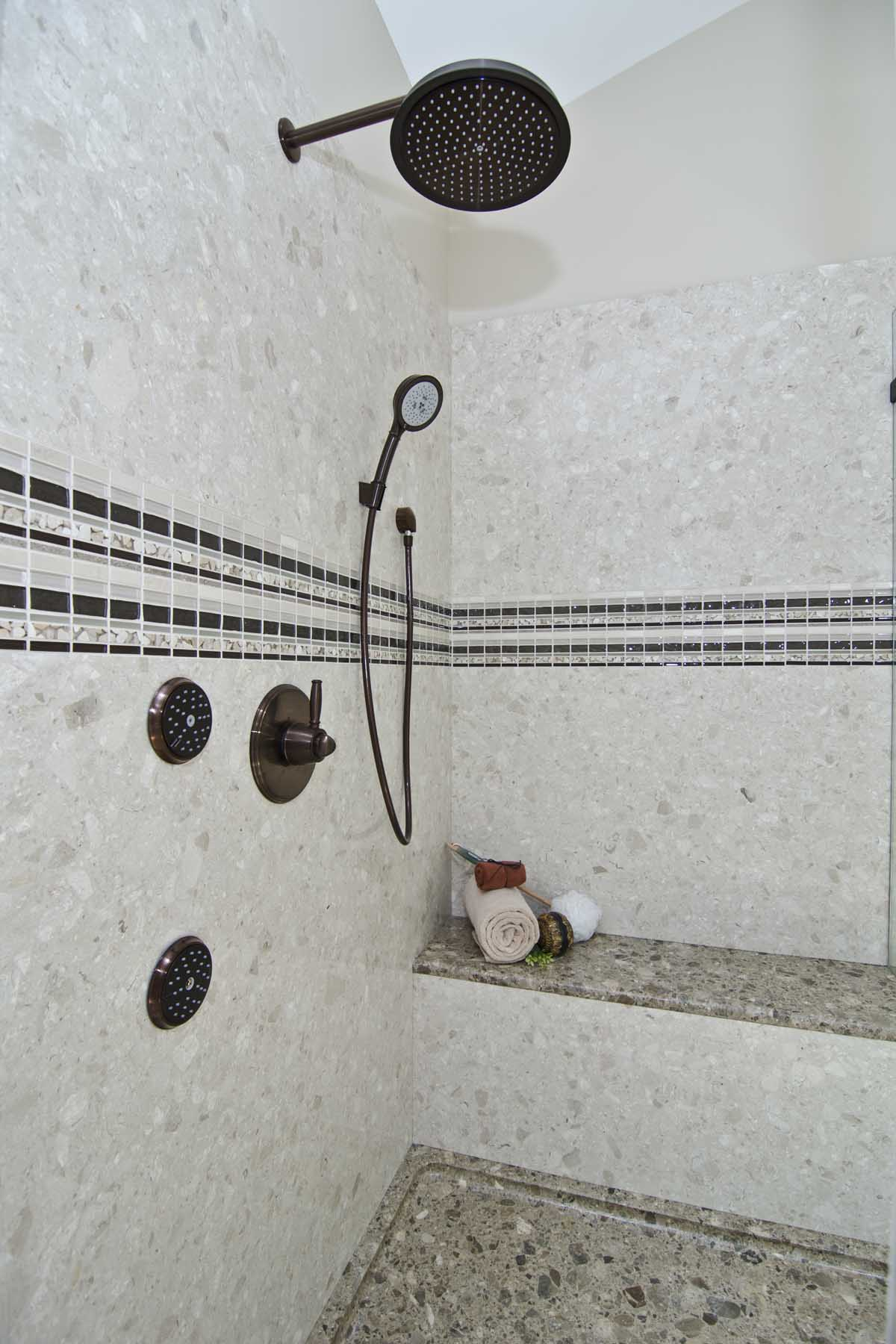 Verona Showers Marble Wall and Shower Seat
