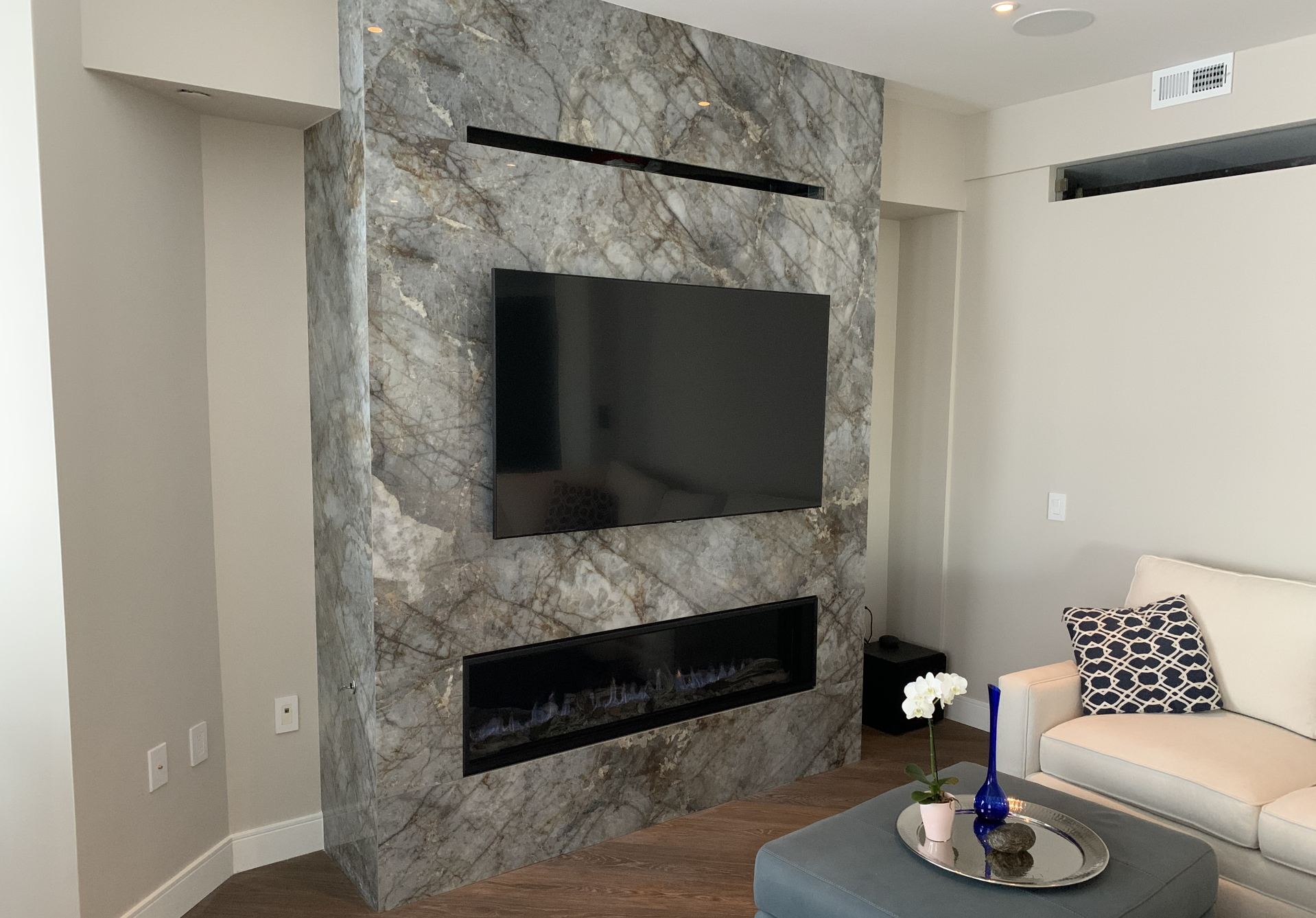 Fireplace Surround in Level Patagonia Porcelain