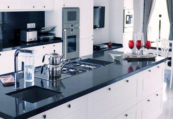 Q Premium Sparkling Black Quartz Countertops