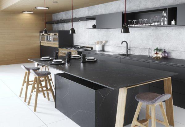 Silestone Charcoal Soapstone Suede Quartz Countertops