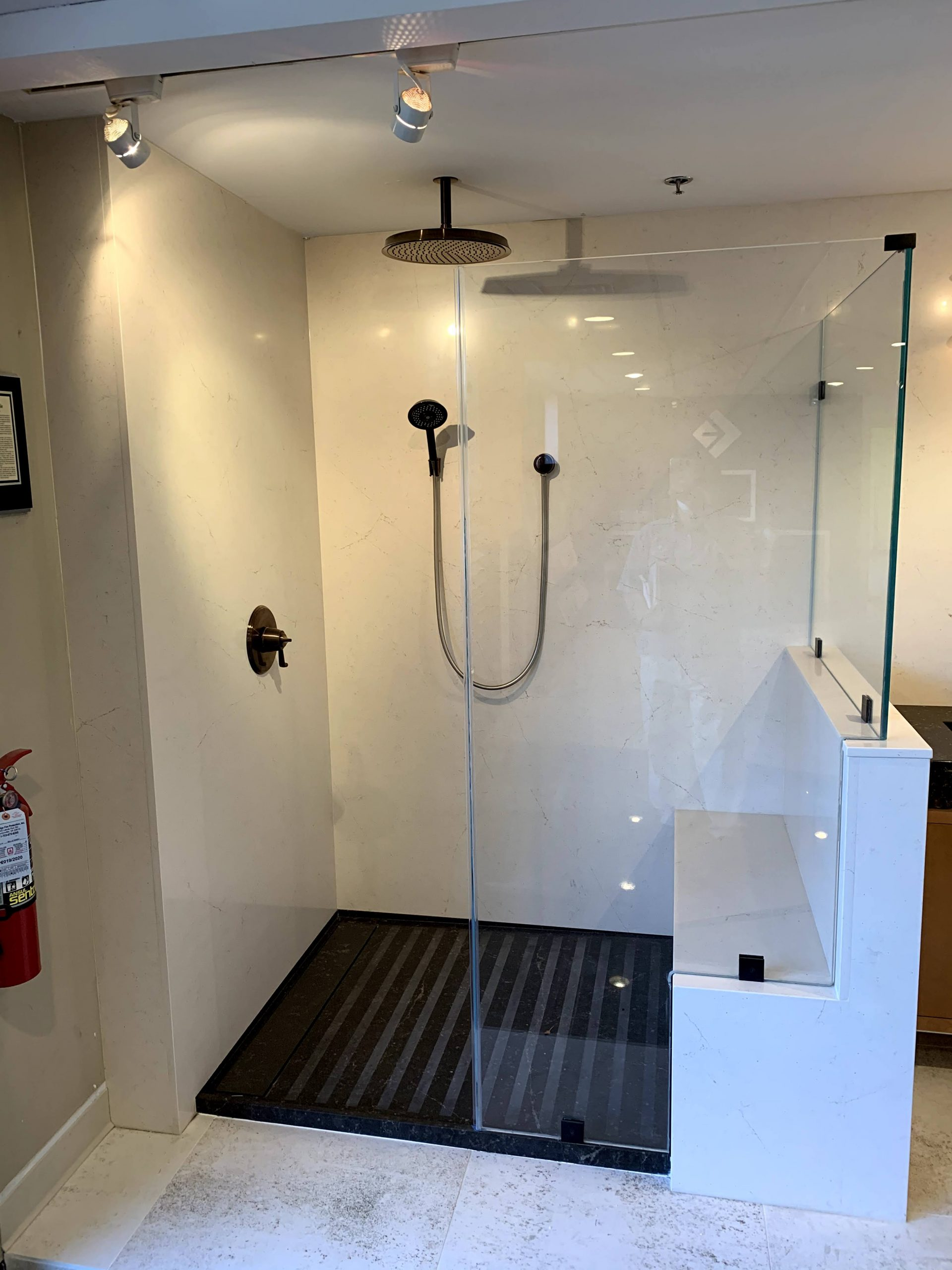 grout-less shower walls and floor